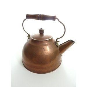 Vintage Paul Revere Ware Copper Brass Wooden Tea